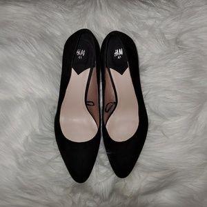 Faux Suede Black Block Heels